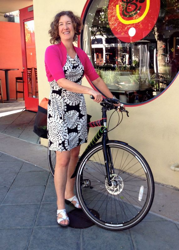 Winona Hubbard, Bike to Shop Day Ride Leader in Mountain View. Founder, Kidical Mass Silicon Valley.